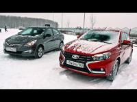 Сравнительный видео тест-драйв Hyundai Solaris и Lada Vesta от канала ClickonCar