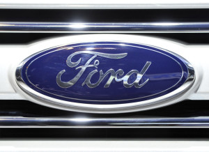 The logo for Ford on display at the Chicago Auto Show